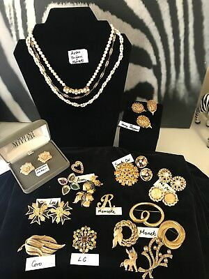 Vintage Gold Tone Jewelries All Signed Rhinestone Pearl Lot Of 22