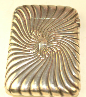 Antique Gorham Sterling Silver Repousse Swirl Card Case With H Monogram On Back