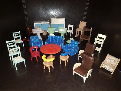 Vintage Dolls House Furniture Joblot Early Plastic U0026 70S Lundby Barton Lots  More
