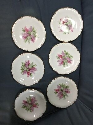 Vintage Six Bavaria Plates 7 1/2 Inches, Schumann Arzberg Germany Lilac Time