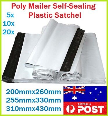 3 Size Poly Mailer Courier Self-Sealing Plastic Shipping Satchel Post Bags AU