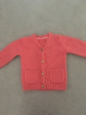 Mothercare Baby Girls Cardigan Age 12-18 Months. Coral Colour