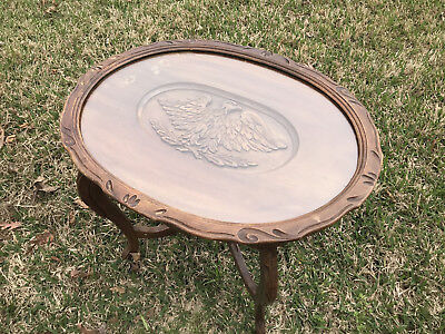 Vintage Walnut Carved Eagle Oval Coffee Table All Original