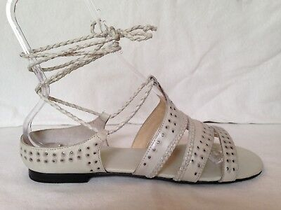 6d7fea1908fe AllSaints Totem gladiator flat sandals 41 chalk white studded braided ankle  tie