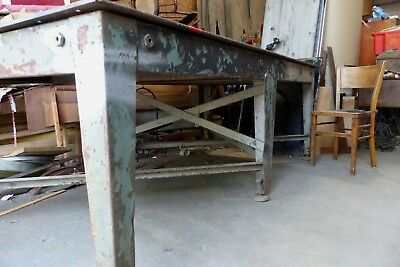 vintage industrial steel 8ft table, fabrication/welding bench, shop fit, dining