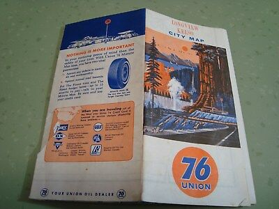 1-Vintage Road Maps Union 76 Longview Wa 60's Great Color Awesome Graphics