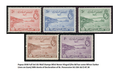 Papua 1938 Full Set Air Mail Stamps Mint Never Hinged (the 8d has some Minor Dar