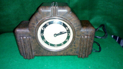Vintage Art Deco English Made Bakelite Electric Clock