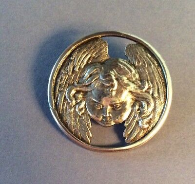 Sterling Angel Head & Wings Button, Stinks & Sons London, Large
