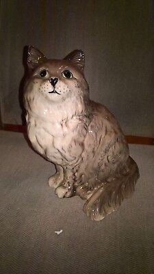Lovely Large Vintage Beswick Cat Figure Persian Shaded grey 1867 heart nose