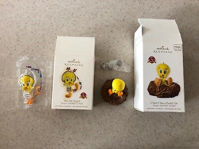 Looney Tunes Tweety Bird Hallmark Keepsake Ornaments Lot Of 2 NIB