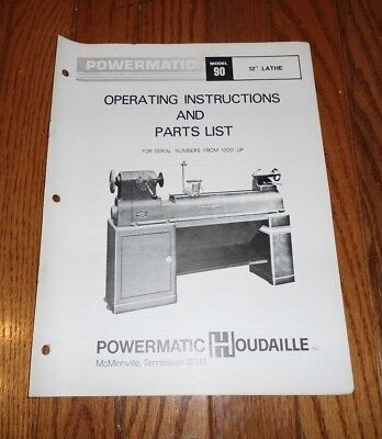 Vintage Powermatic Model 90 Lathe Operating Instructions & Parts List Booklet
