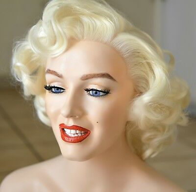 Beautiful Lifesize Marilyn Monroe Mannequin Bust with Lace Front Wig Glass Eyes