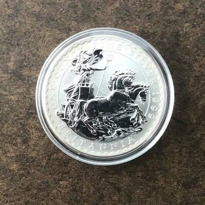 1999 Great Britain Britannia Silver 2 Pounds Coin - 1 Ounce Silver -- No Reserve