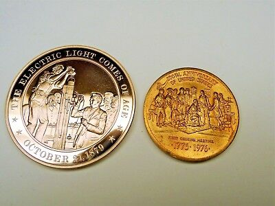 2 Medals- 1879 The Electric Light Comes Of Age,1776-1976 First Coining Meeting