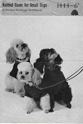 Vintage Knitting Pattern Copy - To Knit 3 Small Dogs  Coats  -  8 Ply - 1950's