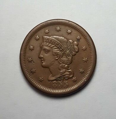 XF/AU 1855 Braided Hair Large Cent - Upright 5's - Great Color!