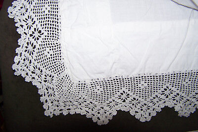 VICTORIAN WHITE MUSLIN LINEN BED SHEET with HAND WORKED CROCHET LACE