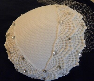 Vintage Women's Hat White With Lace & Rhinestones & Net Veil