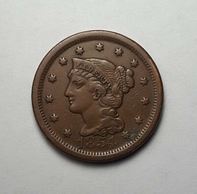 High VF 1854 Braided Hair Large Cent - Attractive Even Color & Lots of Detail!
