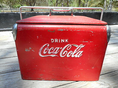 """Vintage 1950's Red Metal Coca Cola Cooler  Approx. 17"""" x 12"""" x 14 1/2"""" By Action"""