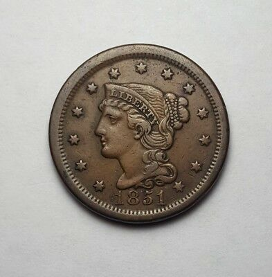 High VF 1851 Braided Hair Large Cent - Tons of Detail!