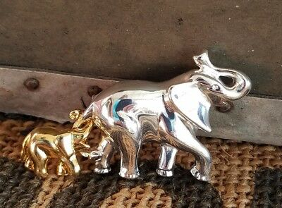 "elephant brooch simple mom calf 2"" vintage very nice African animal jungle"