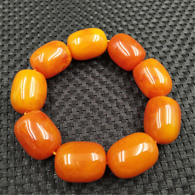 Top Grade Vintage amazing  BALTIC AMBER Beeswax bucket  Bead Bracelet