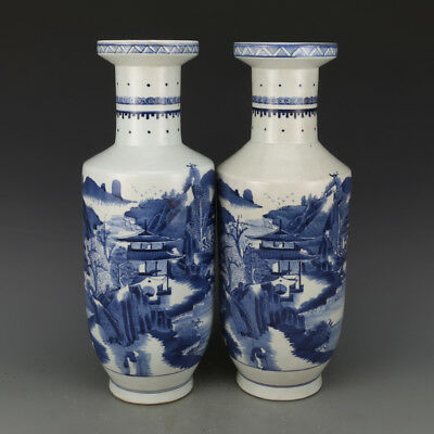 A Pair Fine Chinese Ming Dynasty Blue&White Porcelain Landscape scenery Vase
