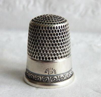 Big Antique Simons Sterling Silver Sz.12  Thimble Many Tiny Holes