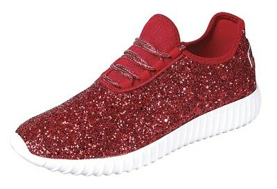 New Womens And Girls Kids Sequin Red Glitter LaceUp Fashion Shoes Casual Sneaker