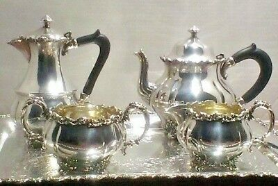 Vintage  Silver plated 5 Pc.  Tea Set  named for birth of Prince Charles in 1948