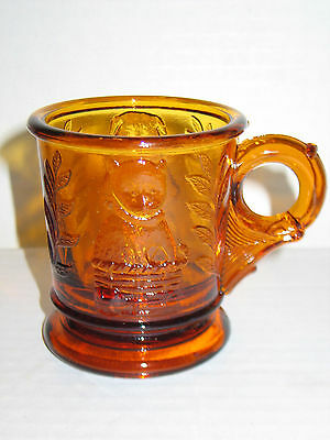 Vintage Mosser Glass Amber Child's Mug with Bear and Kitten