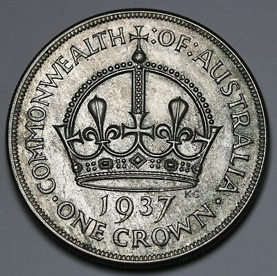 1937 Australia Silver Crown KM# 34 George VI Coin