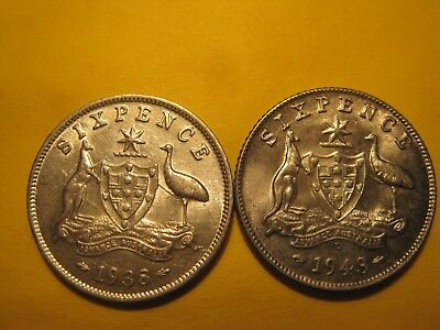 2 X Sixpences 1938 and 1943 d