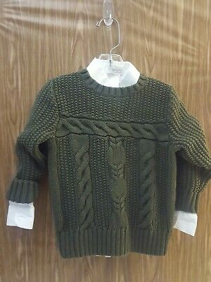 Janie and Jack Boy Cable Knit Fisherman Sweater Size 3T  with Long White shirt