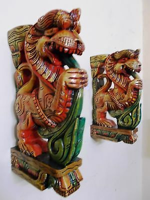 Antique Model Yalli Wooden Wall Corbel Pair Bracket Temple Dragon Sculpture Rare