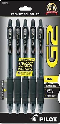 Pilot G2 Retractable Premium Gel Ink Roller Ball Pens, Fine Point, 5-Pack... New