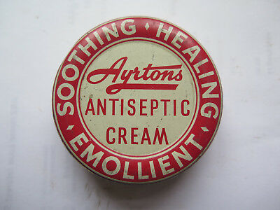 AYRTONS ANTISEPTIC SOOTHING CREAM CHEMIST TIN 1 1/4 Ozs LIVERPOOL ENGLAND c1950s