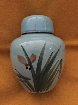 Sky Blue Lidded Ginger Jar with Hand-painted Grass in Flower
