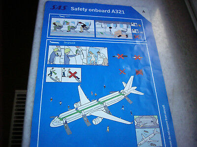 Scandinavian Airlines A321 safety card