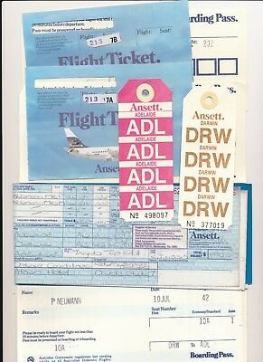 Vintage Ansett Airline tickets, Boarding Pass c1980's Baggage labels Darwin