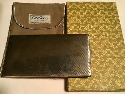 Vintage Signed Sterling Cartier Cigarette Box With Original Box & Pouch