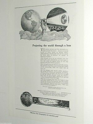 1920 Bausch & Lomb Optical Co advertisement page, motion picture lenses