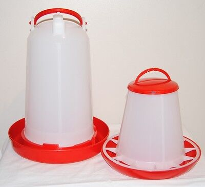 Red Base Poultry 3kg feeder & 3lt Drinker Chickens hens ducks etc