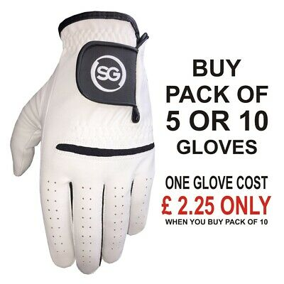 5/10 Pack All Weather Men Golf Gloves RIGHT/LEFT Cabretta Leather thumb & patch