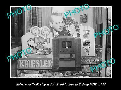 OLD LARGE HISTORIC PHOTO OF THE KRIESLER RADIO SHOP DISPLAY, SYDNEY NSW c1930s 1