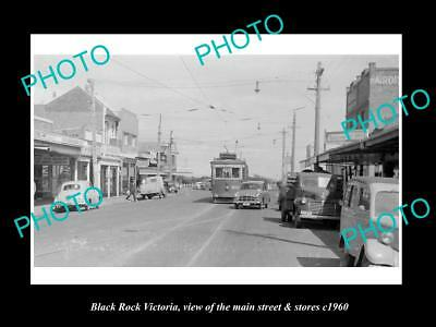 OLD LARGE HISTORIC PHOTO OF BLACK ROCK VICTORIA, THE MAIN St & STORES c1960