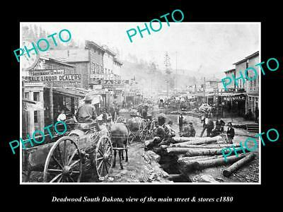 Old Large Historic Photo Of Deadwood South Dakota, The Main Street & Stores 1880