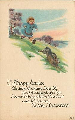 Easter~Boy Runs Downhill After Racing Bunny Rabbit~Blooming Trees~1920s Postcard